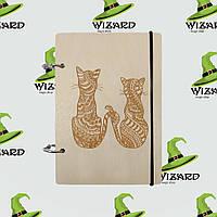 Деревянный блокнот А6 Два кота (светлое дерево), фото 1