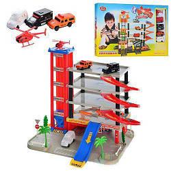 Детский игровой набор гараж Play Smart 5 ярусов, 4 машинки, вертолёт