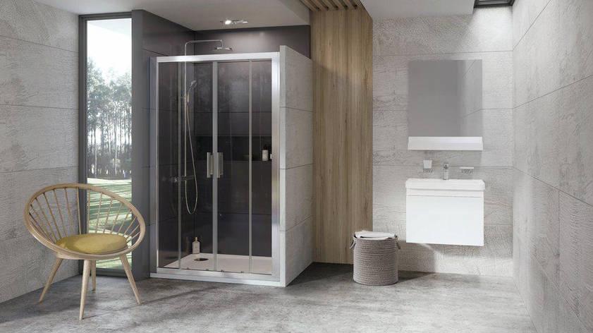 Душові двері 10° 10DP4-150 білий +Transparent, фото 2