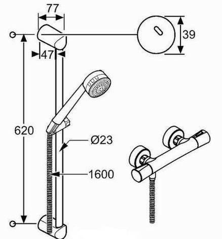 Душевой гарнитур с термостатическим смесителем Shower-Duo 2S 60см Kludi Zenta 6057605-00, фото 2