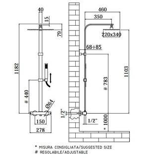 Душевая система с термостатом Paffoni City ZCOL 665 CR, фото 2