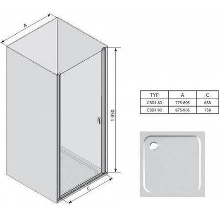 Душевая дверь Ravak Chrome CSD1-90+transparent 0QV70C00Z1, фото 2