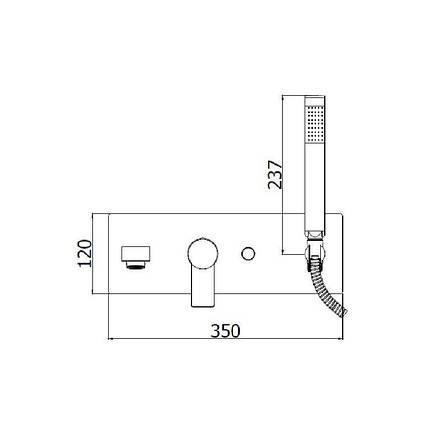 Смеситель встраиваемый для ванны Paffoni Tango с душевым гарнитуром TA 001 CR, фото 2