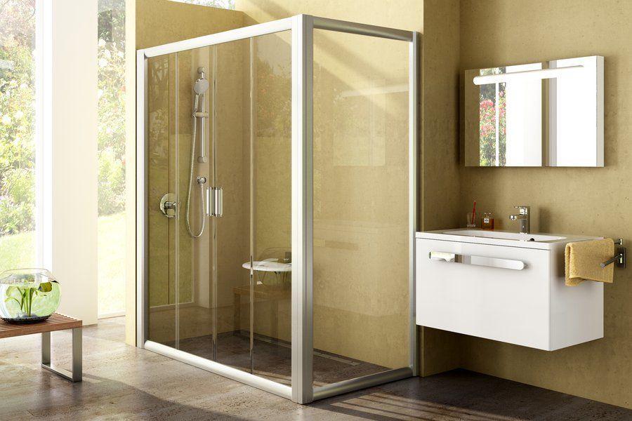 Душові двері з нерухомою стінкою Rapier RPS-90 сатин+grape 9RV70U00ZG