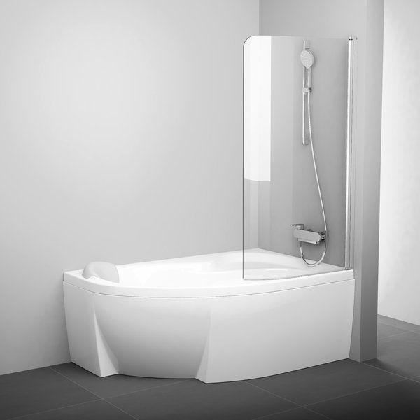 Штора для ванн CVSK1 ROSA 140/150 R полір.алюм.+Transparent