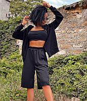Удобный женский спортивный костюм тройка на прохладное лето топ кофта и шорты черный