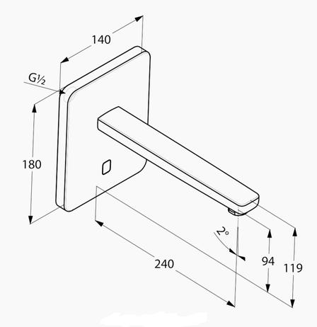 Смеситель для раковины электронный настенный сенсорный Kludi Zenta хром 3840205, фото 2