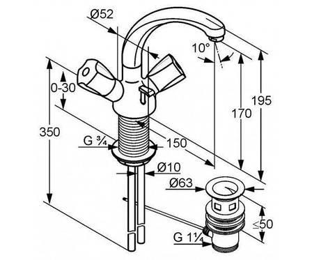 Смеситель для раковины двухвентильный с донным клапаном высокий Kludi Standard хром 210370515, фото 2