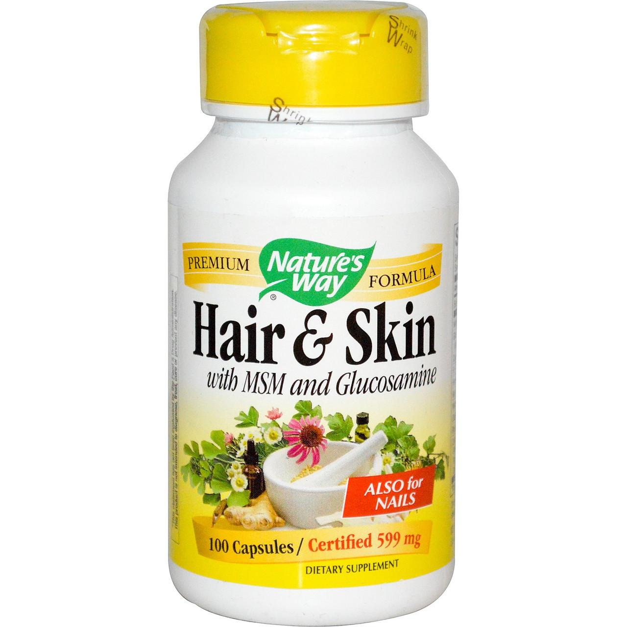 Витамины для волос и кожи, с МСМ и глюкозамином, Nature's Way. Сделано в США. 100 капсул