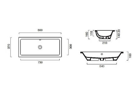 Раковина для ванной встраиваемая Catalano New Zero 80х37 18037ZE00, фото 2