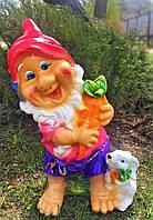 Фигура гнома скульптура для сада Гном с зайцем, 50 см