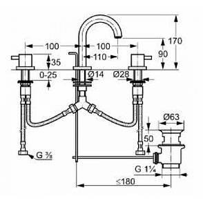 Смеситель для раковины двухрычажный скрытый с донным клапаном Kludi Bozz хром, фото 2