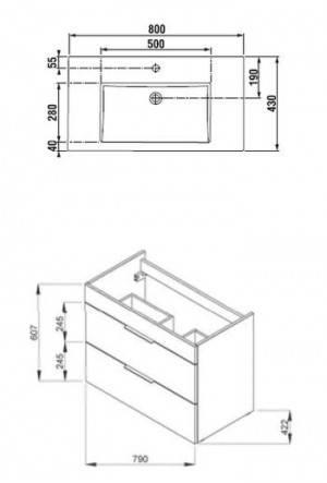 Умывальник со шкафчиком Jika Cube 80 H4537621763021, фото 2