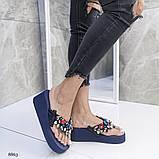 Жіночі пляжні шльопанці чорні Phillip Plein ,на платформі 6 см, фото 7