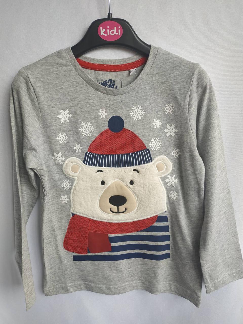 Серый реглан с медведем для мальчика C&A Германия Размер 116