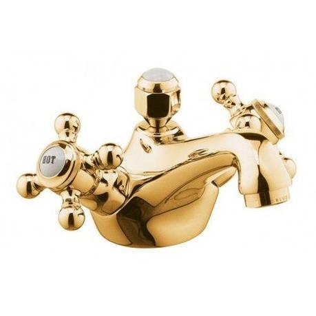 Смеситель для раковины двухвентильный с донным клапаном Kludi Adlon золото 510124520, фото 2