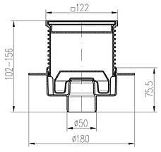 Трап с гидрозатвором MCH G 420 NL с решеткой Квадраты, фото 3