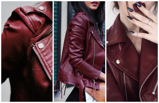кожаные куртки бордового цвета