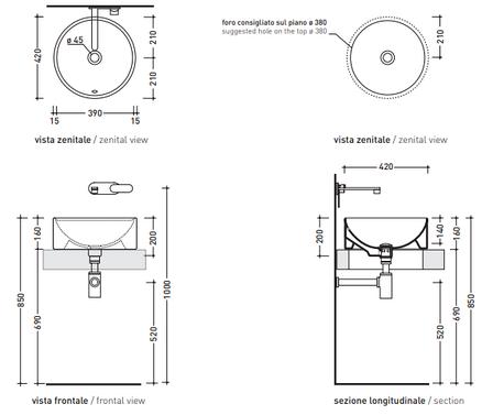 Керамическая раковина 42 см Flaminia Twin Set antracite 5050/42C, фото 2
