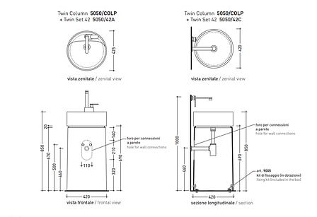 Напольная раковина Flaminia Twin Column argilla 5050/COLP+5050/42C, фото 2