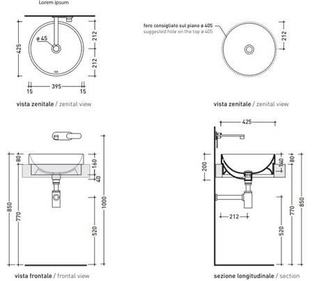 Раковина встраиваемая 42 см Flaminia Twin Set fango 5055/42C, фото 2