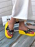 Женские пляжные шлепки с камнями ,на платформе 6 см, голубые, белые, желтые, фото 6