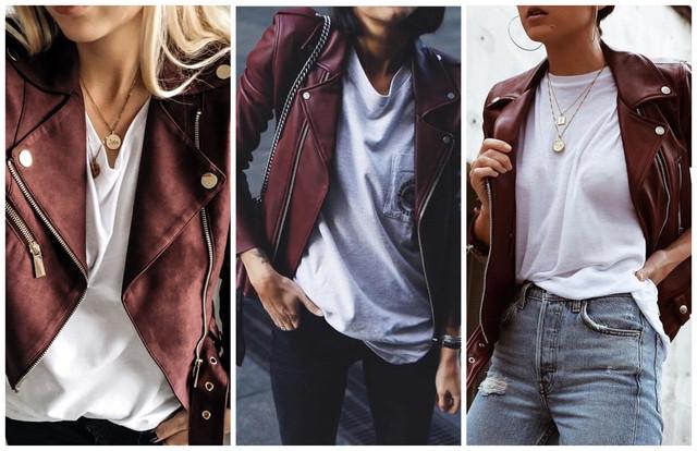 бордовые кожаные куртки с белой футболкой