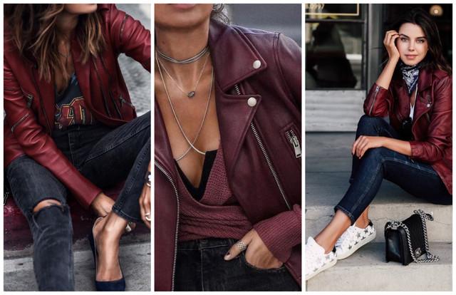 бордовые кожаные куртки с джинсами
