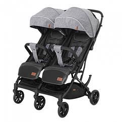 Прогулочная коляска для двойни CARRELLO Presto Duo CRL-5506 Pitch Grey + дождевик серая