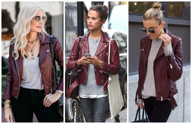 бордовые кожаные куртки с серым цветом