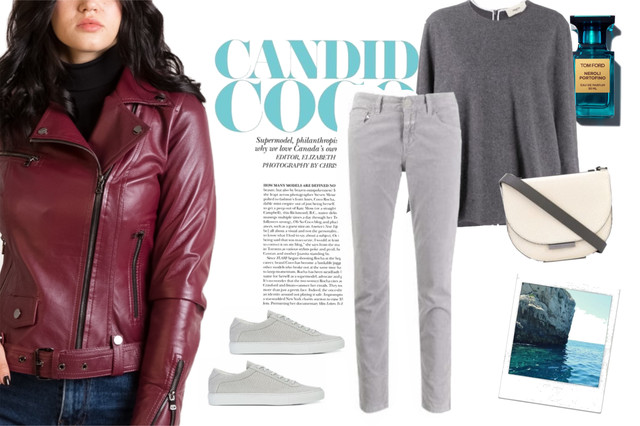 бордовые кожаные куртки с серыми джинсами