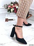 Жіночі туфлі чорні на широкому каблуці з гострим носом, фото 2