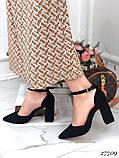 Жіночі туфлі чорні на широкому каблуці з гострим носом, фото 4