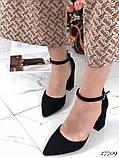 Жіночі туфлі чорні на широкому каблуці з гострим носом, фото 3