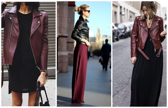 бордовые кожаные куртки с черным