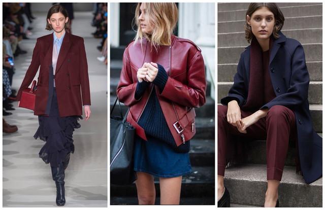 бордовые кожаные куртки с синим цветом