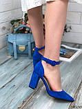 Женские туфли с ремешком на широком каблуке с острым носом, фото 7