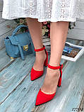 Женские туфли с ремешком на широком каблуке с острым носом, фото 2