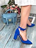 Женские туфли с ремешком на широком каблуке с острым носом, фото 5