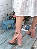 Женские туфли с ремешком на широком каблуке с острым носом, фото 9