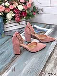 Женские туфли с ремешком на широком каблуке с острым носом, фото 10