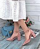 Женские туфли с ремешком на широком каблуке с острым носом, фото 8