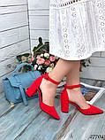 Женские туфли с ремешком на широком каблуке с острым носом, фото 3