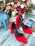 Женские туфли с ремешком на широком каблуке с острым носом, фото 4