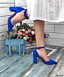 Женские туфли с ремешком на широком каблуке с острым носом, фото 6