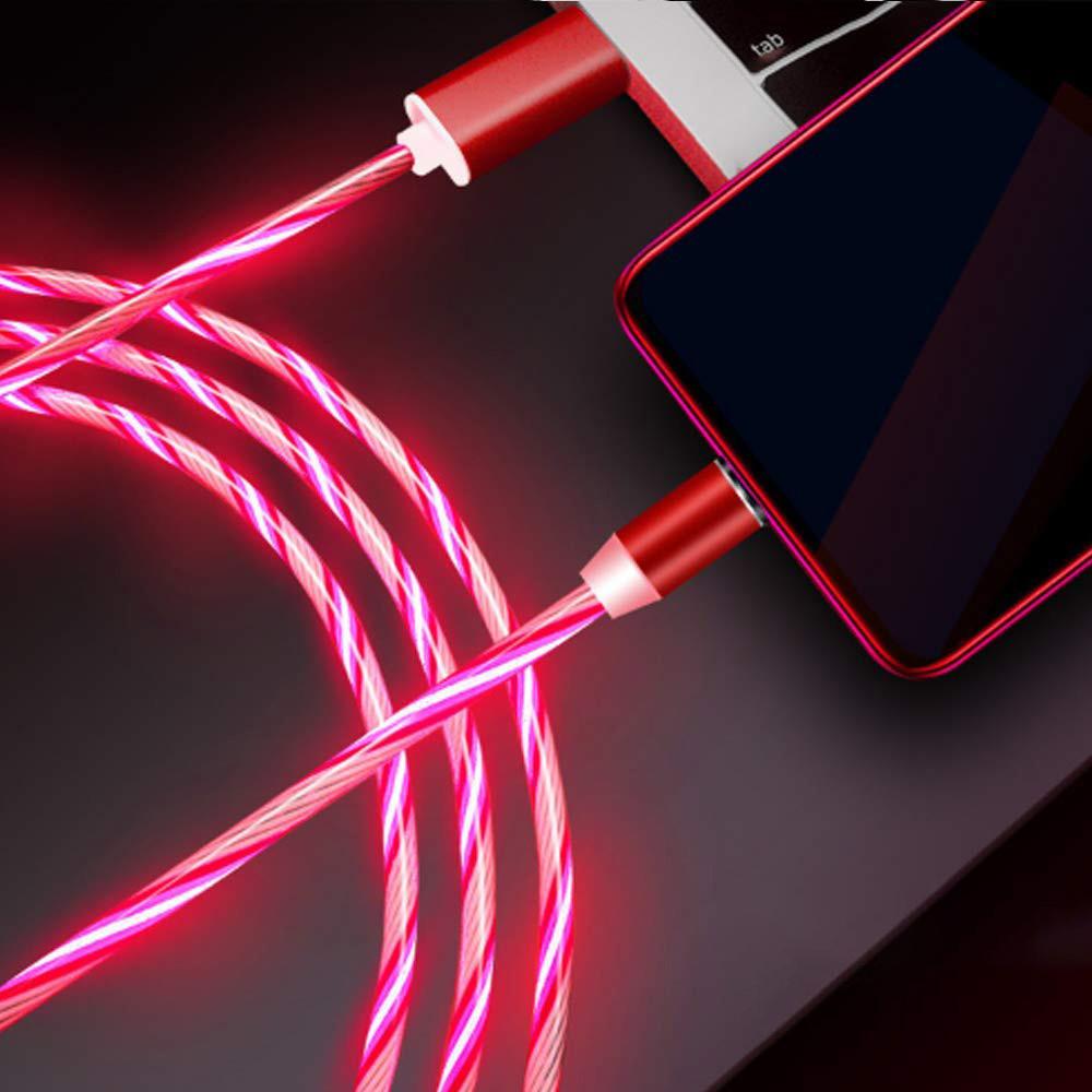Магнитный кабель micro USB светящийся (LED) круглый 360 красный