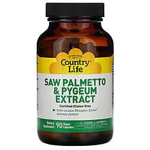 """Витамины пальметто и пиджеум Country Life """"Saw Palmetto & Pygeum Extract"""" экстракт для простаты (90 капсул)"""