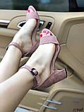Женские босоножки на удобном устойчивом каблуке пудра, красные, черные, фото 6