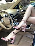 Женские босоножки на удобном устойчивом каблуке пудра, красные, черные, фото 4