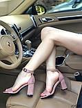 Женские босоножки на удобном устойчивом каблуке пудра, красные, черные, фото 5